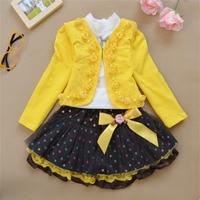 סט בגדי ילדים באיכות גבוהה בנות אופנה שמלת שלושת חלקים להגדיר שרוול ארוך חולצה + מעיל + קצר Dress1-10years ישן
