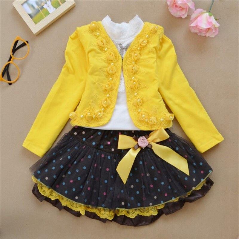 Los niños de la ropa de alta calidad de las chicas de moda vestido de tres piezas de manga larga t-shirt + chaqueta + Short Dress1-10years edad