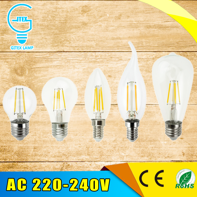 Antique Retro Vintage LED Edison Bulb E27 LED Bulb E14 Filament Light 220V Glass Bulb Lamp 2W 4W 6W 8W Candle Light Lamp lumiparty antique light bulb classical edison bulb e27 8w filament tubular nostalgic filament incandescent home lamp