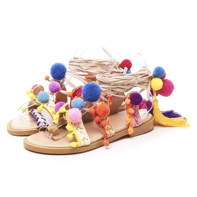 Ravrry Chinese Style Colorful Pom Pom Lace-Up Round Toe Sandal Flat With Patchwork Casual Fresh Student Ankle Strap Low Sandal bohemian style summer celebrity lace up flat shoes pom poms cute sandals skyblue pink colorful clip toe comfortable dress sandal