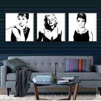 3 Pcs Vintage Poster Portrait Oil Painting Canvas Wall Art Picture Marilyn Monroe And Audrey Hepburn