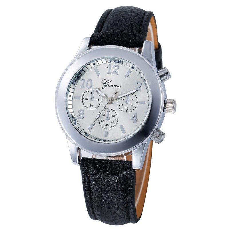 d3690743cc4 Relógio de senhoras Da Moda Relógio de Genebra Relógio de Pulso Das  Mulheres do Sexo Feminino Pulseira de Couro de Pulso de Quartzo Relógios  Relojes Mujer ...