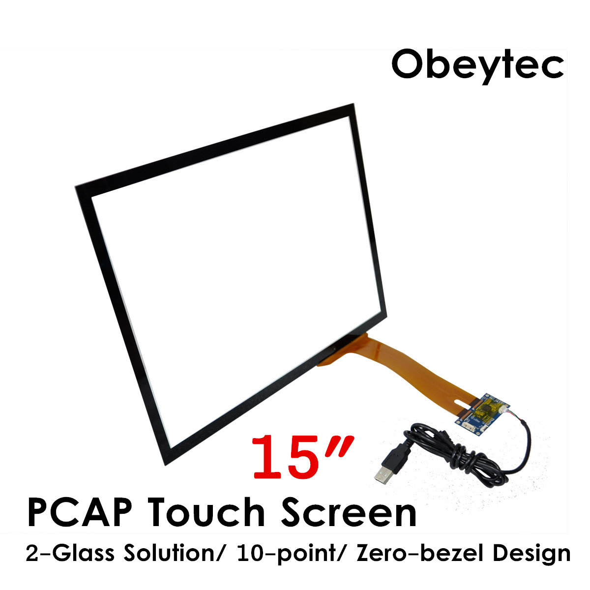 Obeytec 15inch Projection Capacitive Touch Panel, 16:9, P CAP, For LCD Display Monitor, High Sensitive