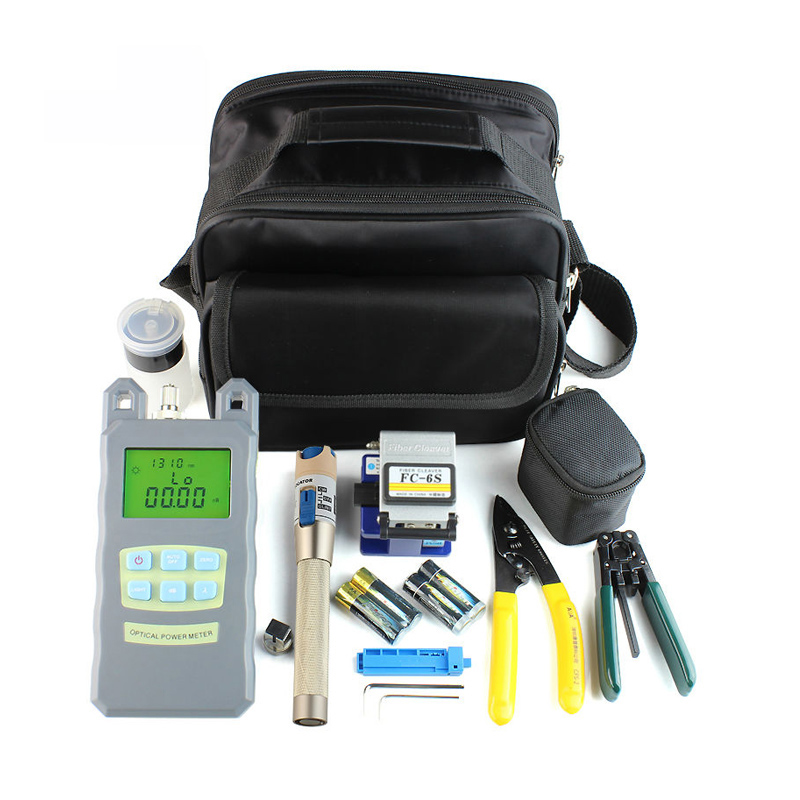 FTTH Fiber Tool Kits 15 in 1 with Fiber CleaverFC-6S, Optical Power Meter Visual Fault Lcator 3-5KM and StripperFTTH Fiber Tool Kits 15 in 1 with Fiber CleaverFC-6S, Optical Power Meter Visual Fault Lcator 3-5KM and Stripper