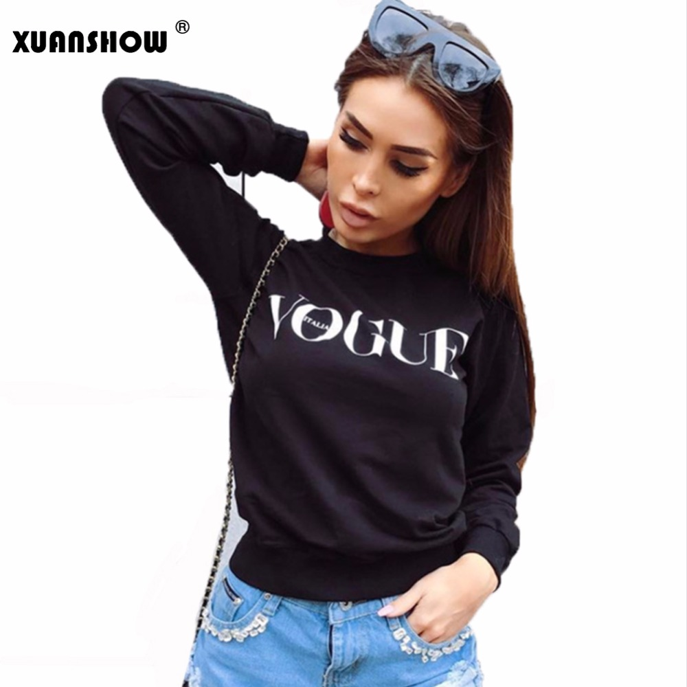 XUNASHOW 2019 Autumn Winter Fleece Sweatshirts For Women Pullover VOGUE Printed Letters Tops
