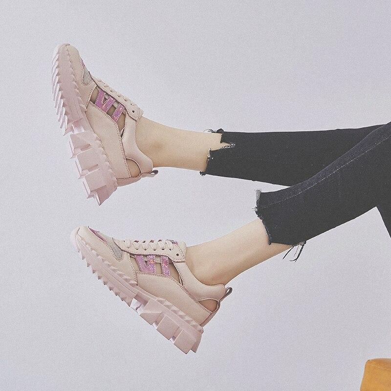 RY-РЕЛА/Модная женская обувь 2019 г. Новая летняя повседневная обувь из сетчатой ткани с толстой подошвой ажурные кроссовки