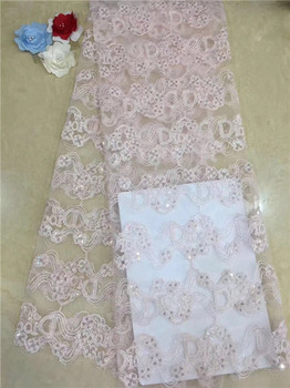 Nigerian Lace Fabric 2019 High Quality Lace 3d Lace Fabric Wedding White African With Sequins Nigerian French Lace Fabric Grey(2
