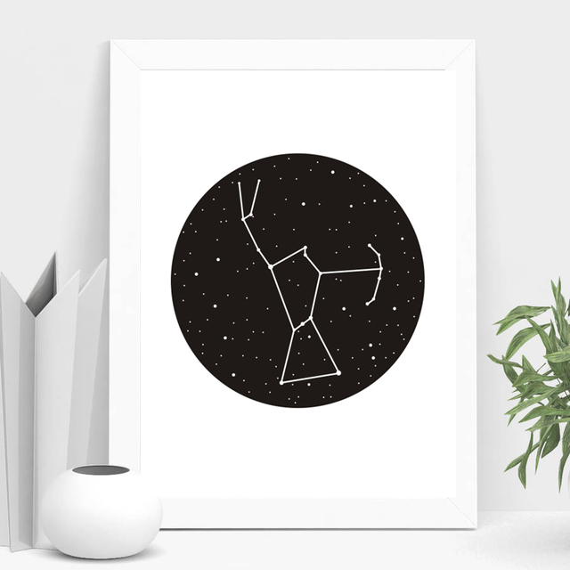 LZN New Constellation Canvas Pictures Oil Painting Artwork Star Map ...