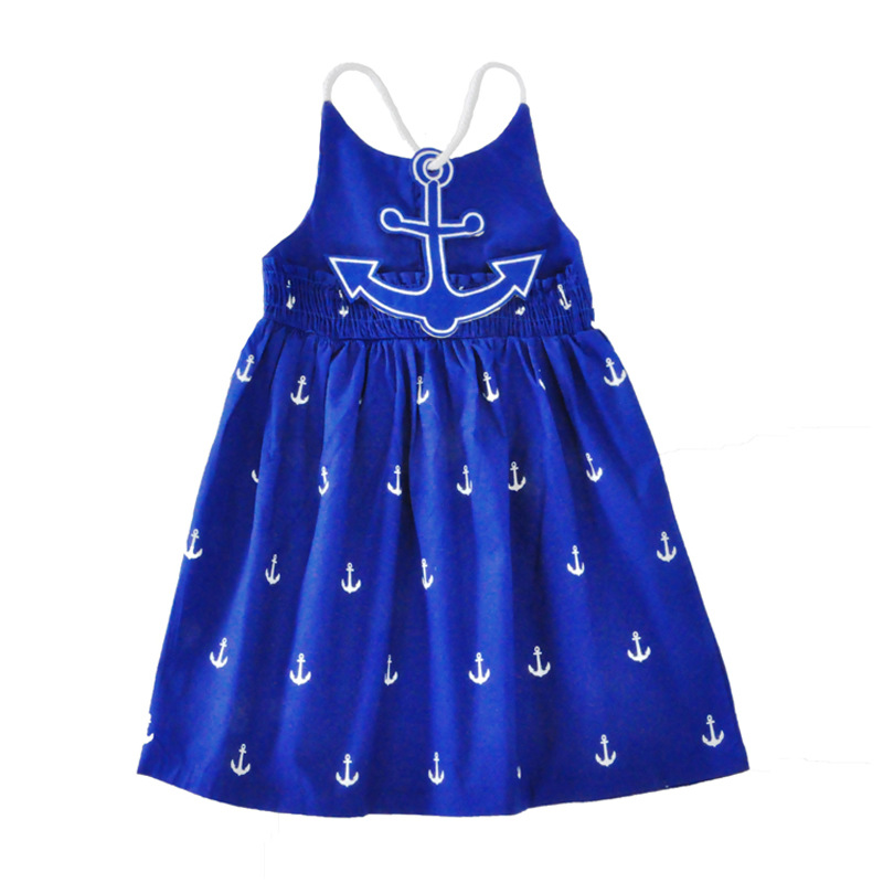Navy Dresses for girls child dress cotton anchor blue girls dress Lolita