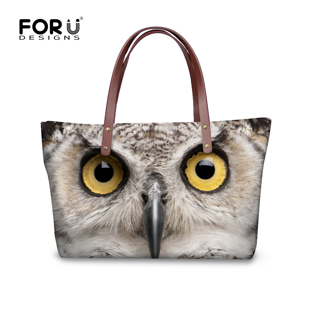 FORUDESIGNS Fashion 3D Owl Wolf Women Bags Feminine Tote Female Shoulder Bag For Ladies Woman Large