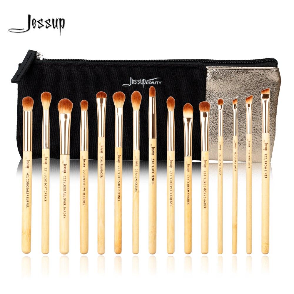Jessup Merek 15 Pcs Kecantikan Bambu Set Kuas Makeup Profesional Mata Kucing Cat Eye Mt03 For Mt25 T137 Kosmetik Tas Wanita Cb001 Make Up Alat