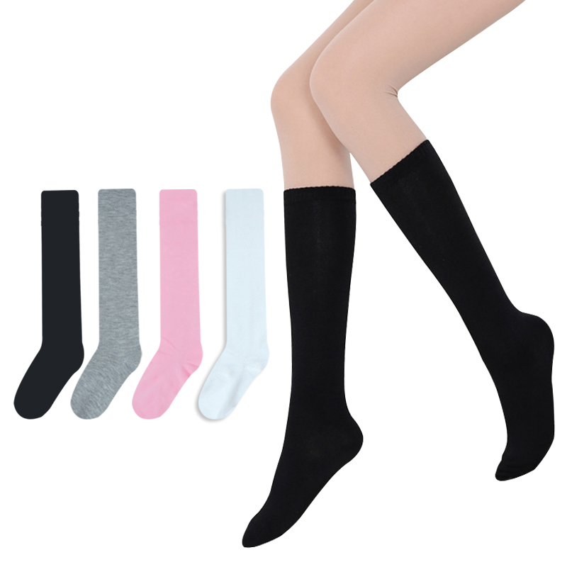 2017 Summer Fashion Lady Women Summer Style Knee High Socks High Quality Cotton Solid Color  Knee High Socks 4 Color