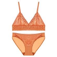 bralette sexy lace flower hollow mesh bra ultra-thin lingerie set underwear push up bra and panty set wire free soutien gorge все цены