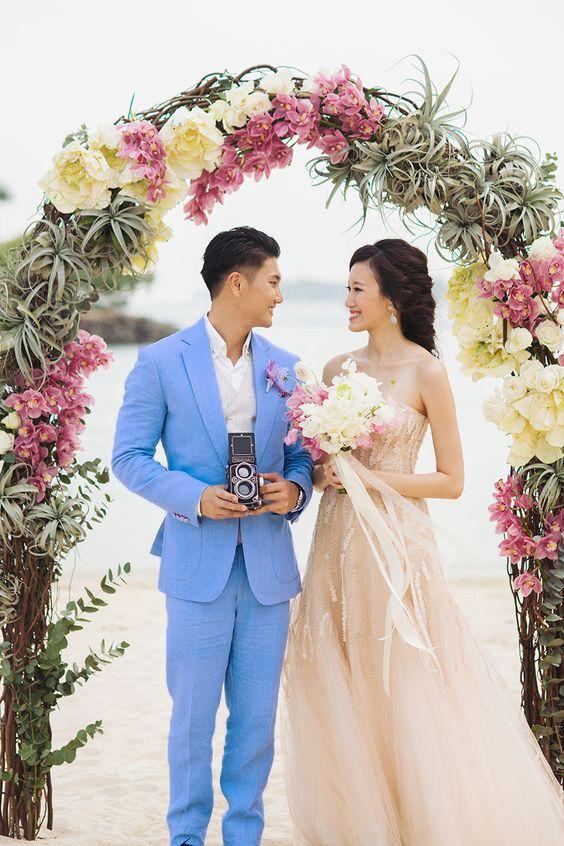 Dernier manteau pantalon conceptions blanc costumes de mariage pour hommes formel personnalisé marié tapis rouge 2 pièces plage Slim Fit costumes (veste + pantalon)