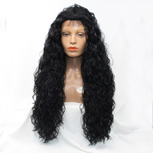 30inch Kinky Curly Glueless Synthetic Hair Front Lace Wigs With Baby Hair Bleached Knots 20-30inch 150 Density Free Shipping