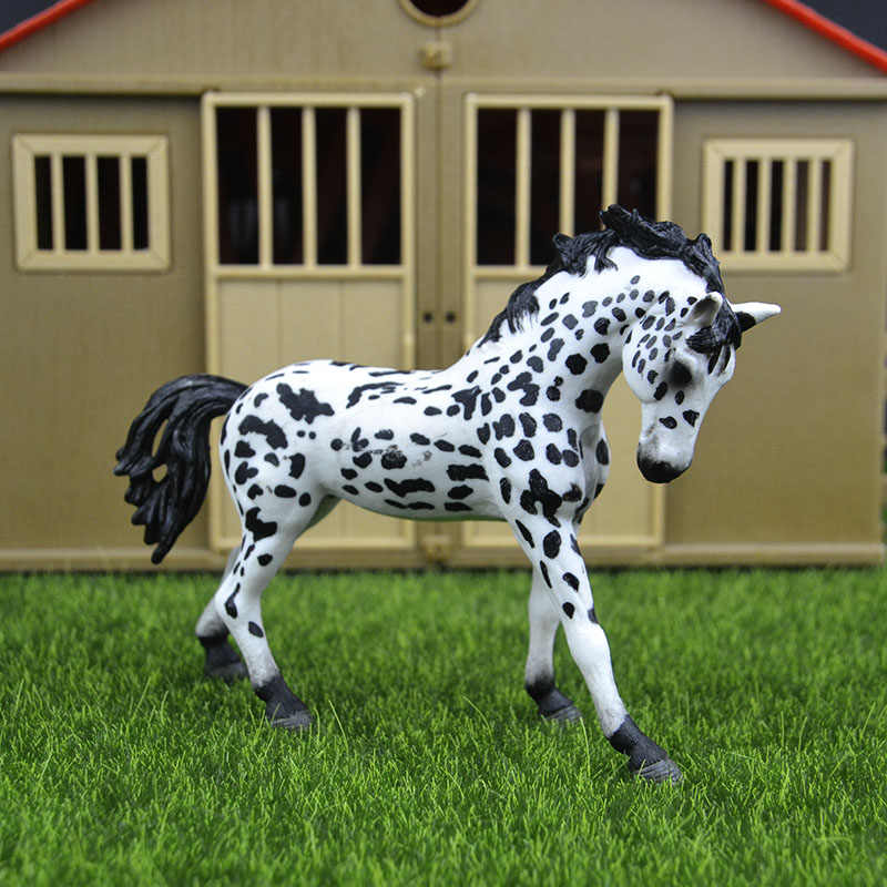 Original genuine Wild farm Animal Spotted Appaloosa stallion horse Figurine figure Model kids toy collectible