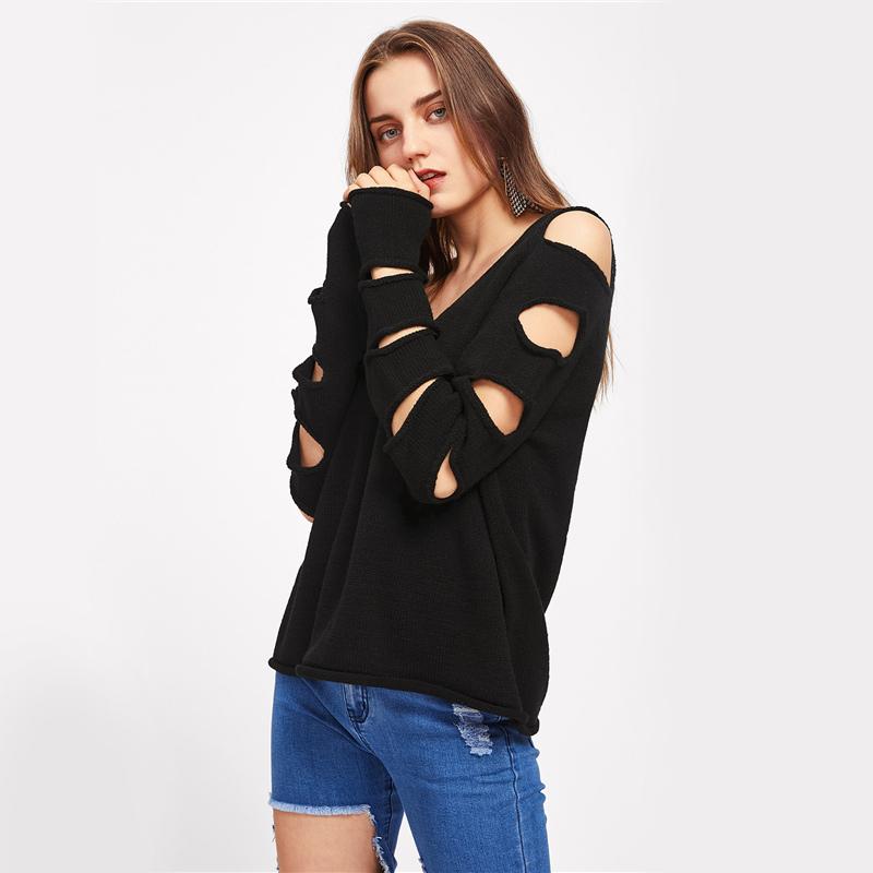 HTB1wvFzSFXXXXaUXVXXq6xXFXXXc - Cut Out Sleeve Sweater Black Sexy Slim Pullover PTC 207