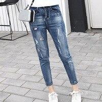 2018 Hole Ripped Jeans Women Loose Cotton High Waist Straight Plus Size Ankle Length Boyfriends Denim Pant Plus Size