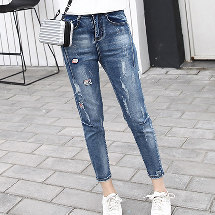2018 Hole Ripped   Jeans   Women Loose Cotton High Waist Straight Plus Size Ankle-Length Boyfriends Denim Pant Plus Size
