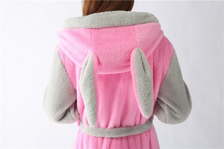 New plush robe Adult Animal Pink rabbit Pajamas long sleeve lovely  Sleepwear bath robes dressing gowns for women bathrobe-in Robes from  Underwear ... cd193f9c0