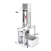 2pcs Machine / Lot Heavy Duty Vertical 5L Spanish Churrera Churros Machine Maker With 6L Electric Deep Fryer 5Pcs Nozzles стоимость