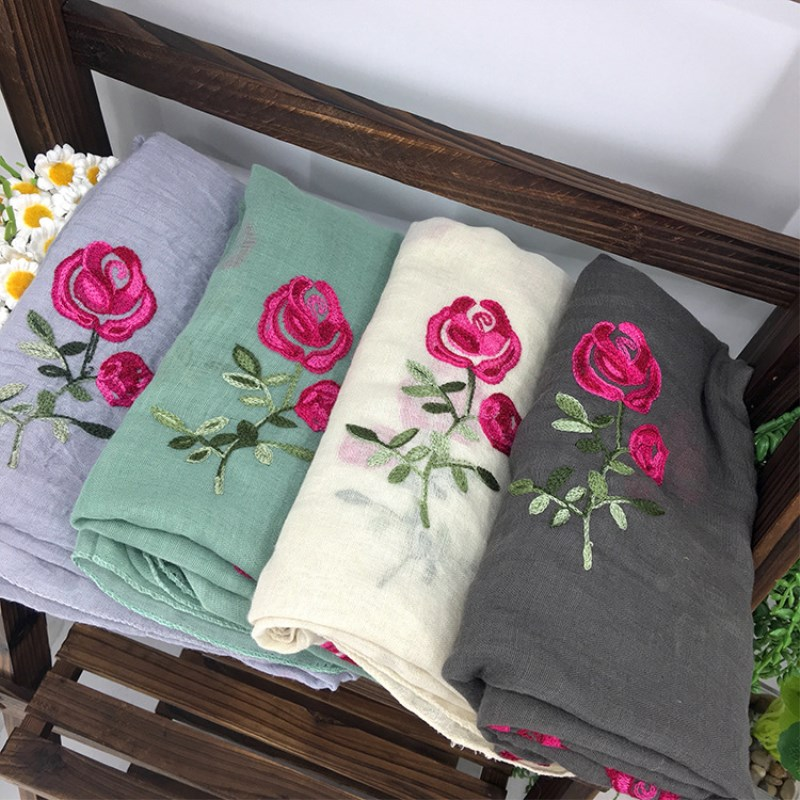 Image Luxury Brand Long Embroidered Scarf Women Cotton Scarves Shawls Rose Flower Embroidery Scarf Muslin Viscose Hijab Foulard Femme