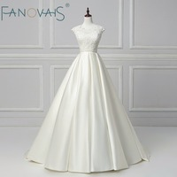 Элегантный Бусины Свадебные платья Двойка атласная Vestido де Novia 2018 халат де mariée Винтаж платье Vestido De Casamento Простые Свадебные