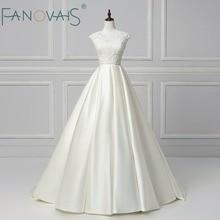 Cuentas elegantes vestidos de novia dos piezas de raso Vestido de Novia 2018 Robe de Mariee Vintage vestido de casamento Boda simple