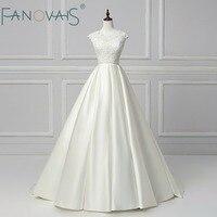 Elegant Beads Wedding Dresses Two Pieces Satin Vestido de Novia 2018 Robe de Mariee Vintage vestido de casamento Simple Wedding