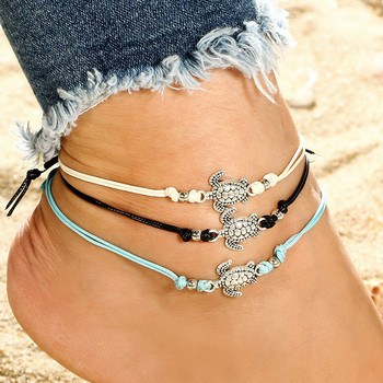 Trendy Beach Turtle Anklets Bracelets Fashion Rope Silver Color Alloy Anklets Chain For Female Party Gift