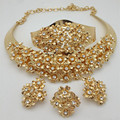 Bridal Gift Nigerian Wedding African Beads Jewelry Set Fashion Dubai Gold Plated Jewelry Sets Free Shipping Wholesale customer
