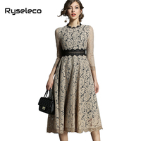 Ryseleco Hot Office Lady Solid Round Neck Fashion Hollow Out Empire Women Work Casual Mid-Calf Dress Patches Floral Lace Vestido
