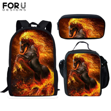 FORUDESIGNS Crazy Horse School Bags Student Boys 3pcs Cool Fire Orthopedic Satchel Backpack Book Bag TeenagersRucksack