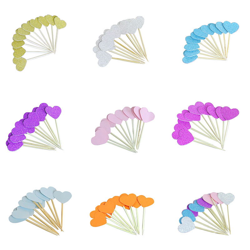 20 Pieces/Lot Handmade Colourful Heart Cupcake Toppers Cake Party Supplies Birthday Wedding Party Decoration Supplies 75Z