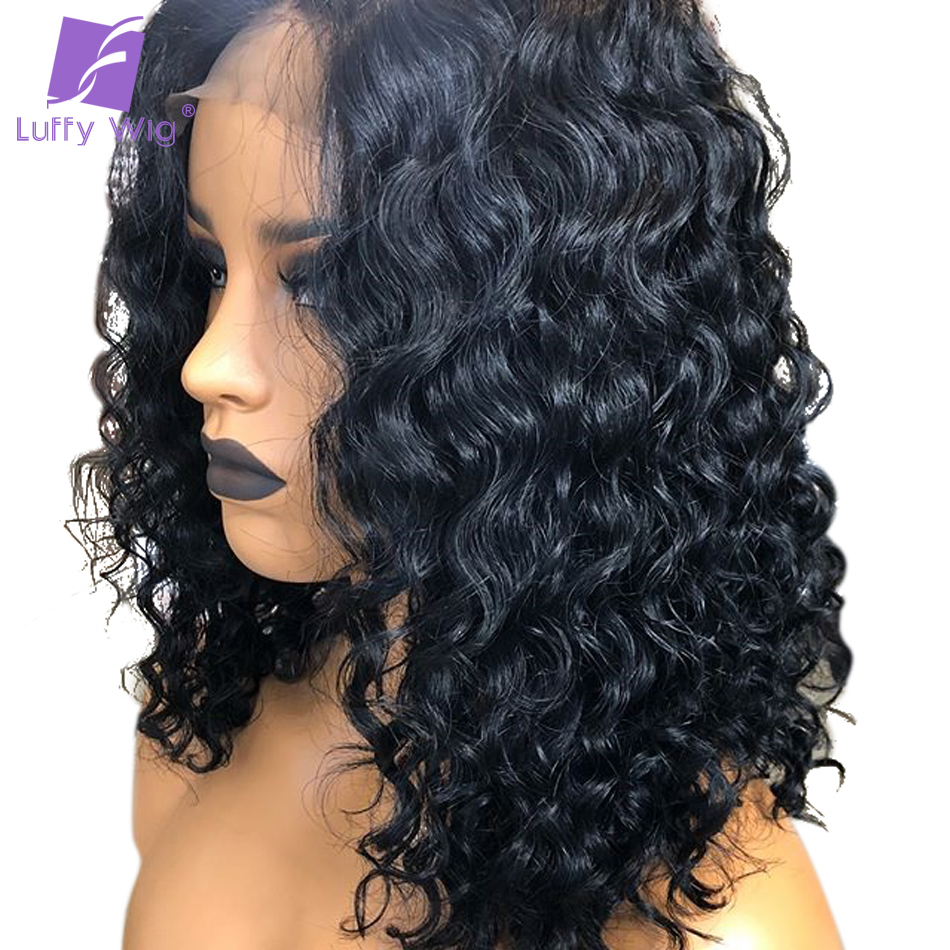 Luffy 13x4 Curly Lace Front Human Hair Wigs For Women Non Remy Brazilian#1 Jet BLack Lace Front Wig With Baby Hair