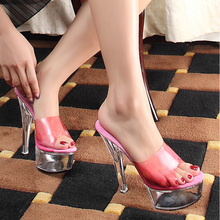Summer Sexy Women Pumps Nightclub Transparent Crystal Platform Shoes Woman Fashion 15 CM High Heels Big Size Slides Sandals