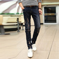 Men's four seasons teenager broken hole patch worn cotton jeans male Fashion pants