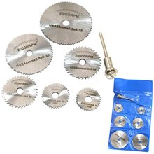 цена на 6pcs Saw blade+1pc Pole HSS Saw blade Rotary Tool Dremel Metal Cutter Hand Tool Set Wood Grinding Discs Drill Hand Tool Sets