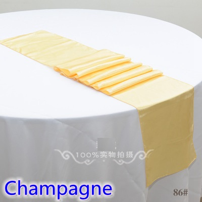 Champagne Colour Satin Table Runner Wedding Decoration For Modern Wedding Party Hotel Banquet Decoration Table Runner Wholesale