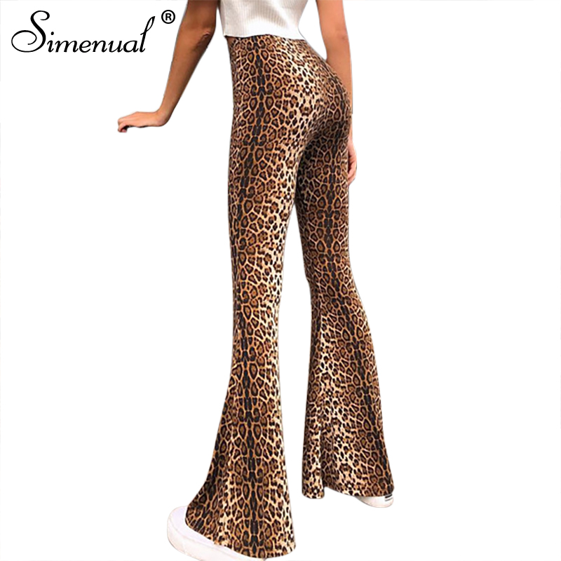 Simenual High waist sexy vintage flare   pants   women snake print leopard trousers hippie skinny casual long   wide     leg     pants   fashion