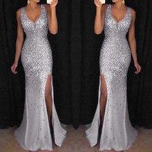 Длинное женское платье, Летнее белое Макси платье с блестками, вечерние золотые вечерние платья с v-образным вырезом, длинное платье Z4