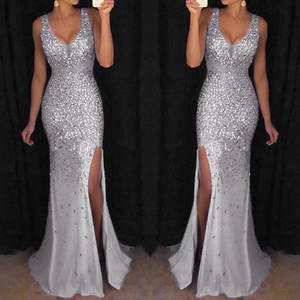 Maxi Dress Sequin Gold Party Evening-V-Neck Summer White Z4