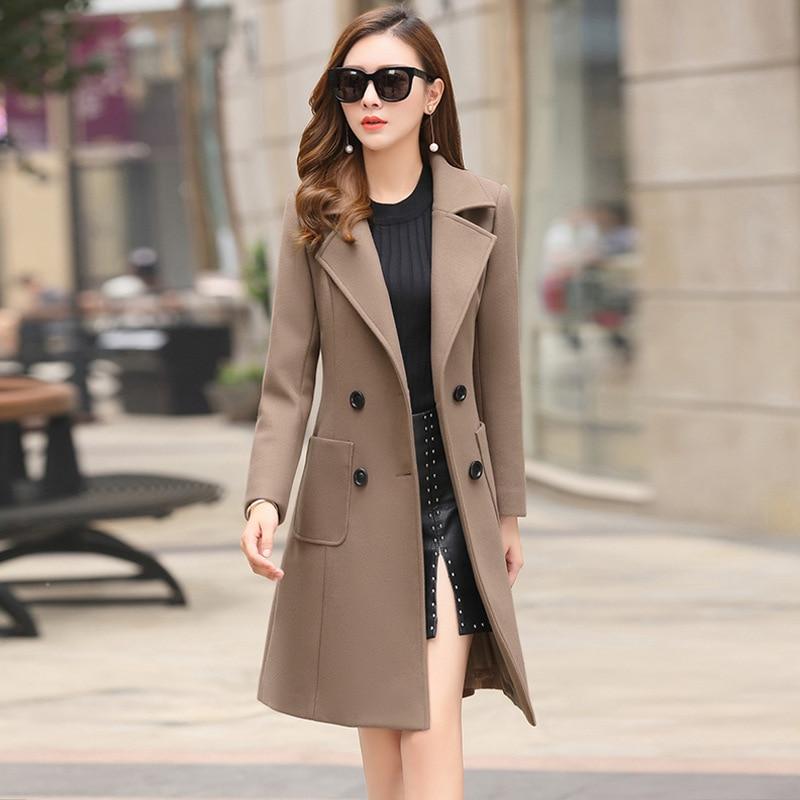 2018 New European and American Women's Lapel Long Sleeve Double breasted Pleated Long Coat Jacket Large Size Windbreaker