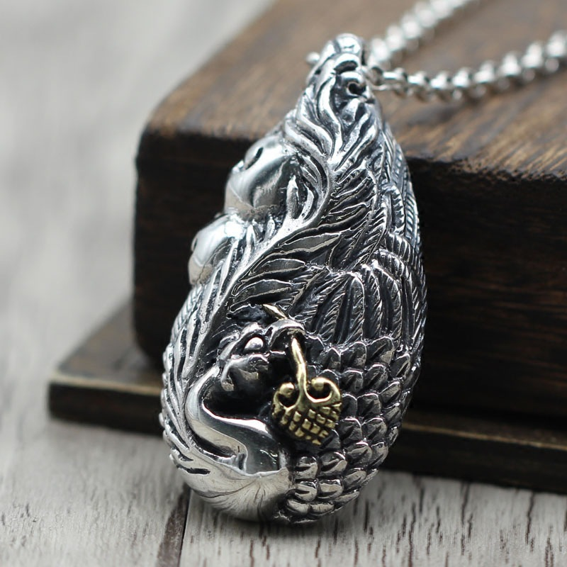 цена на water Phoenix Phoenix sweater chain pendant, Thai silver jewelry, antique, old hollow, Sterling Silver 925 Pendant