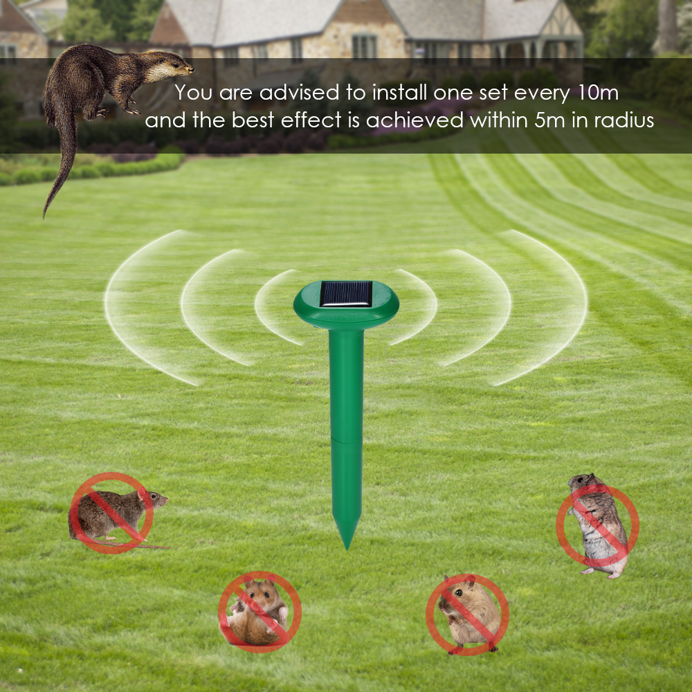 Solar Powered Rodent Repeller Ultrasonic Mouse Yard Waterproof Garden Tool Set