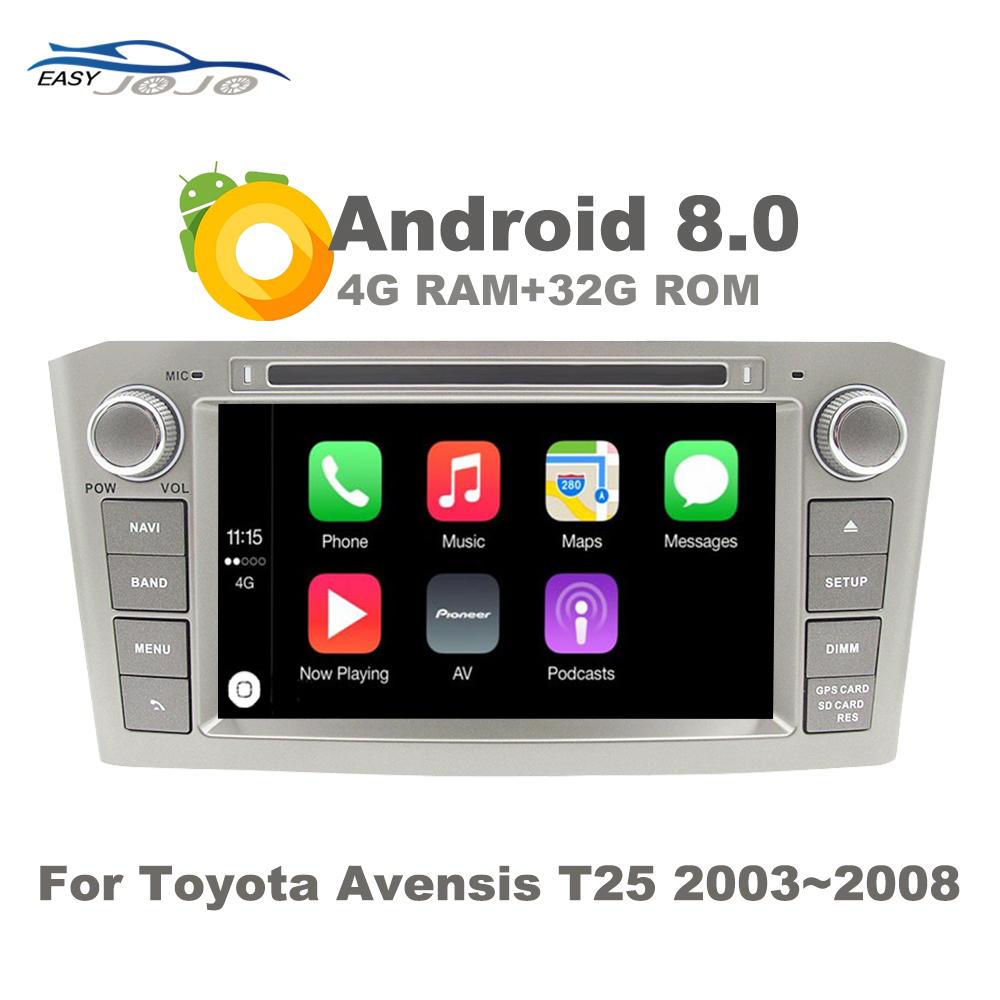 Support Apple Carplay <font><b>Android</b></font> 8.0 Car Radio DVD GPS Multimedia Player For <font><b>Toyota</b></font> Avensis <font><b>T25</b></font> 2003-2008 Auto Navigation Stereo image