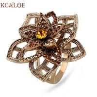 KCALOE Titanium Gold Hollow Big Flowers Women Rings Top Quality Crystal Rhinestone Silver Plated Vintage Wedding