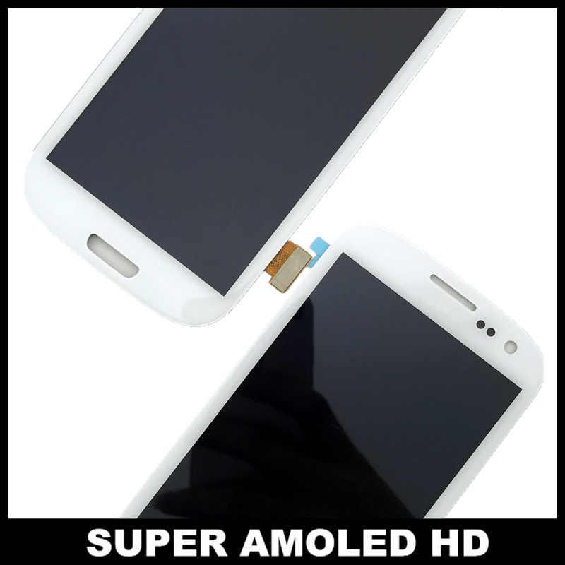 100% اختبار AMOLED LCD قطع غيار سامسونج غالاكسي SIII S3 i9300 i9300i i9301 i9305 شاشة الكريستال السائل مجموعة المحولات الرقمية لشاشة تعمل بلمس