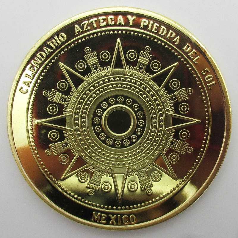 New Coins Art Mexico Mayan Aztec Kalender Minnes Mynt Souvenir Metal Craft Coin