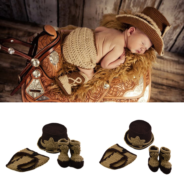 Classic crochet newborn baby boys western cowboy photography props knitted cowboy hat diaper and booties set